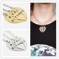 best engraved gifts - hot sale fashion Alex ani engraved broken heart best bitches loving girl friends mosaic pendant necklace jewelry