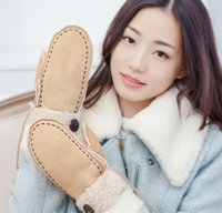 Cheap Mittens lamb wool Best Artificial Leather Woman preppy style