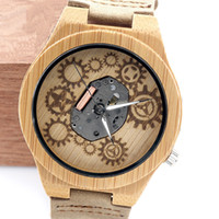 bamboo pin - 2017 New Style Mens Womens Bamboo Wood Watch Japan MIYOTA Movement Hollow Out Skeleton Quartz Leather Wristwatches Fashion Watch AAA Watch