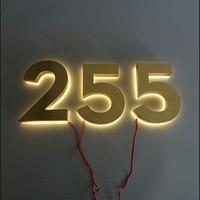 Acheter Numéro de couleur or-Les numéros de maison en métal brossé en couleur Gold Gold