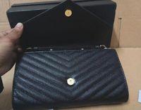 Wholesale 26593 Chain Wallet in Grain de Poudre Textured matelassé Leather FLAP FRONT REMOVABLE METAL CHAIN Calfskin SNAP FRONT CLOSURE