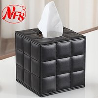 Wholesale x13x13 cm Sheepskin Style Leather Tissue Box White Black Color Decoration for Home and Car