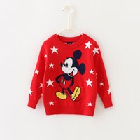 Wholesale Baby Kids Clothing girls Sweaters Pullover Spring Autumn Winter Mickey mouse pattern Cotton Thicken Knitwear Knitting for children