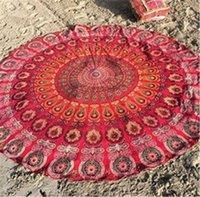Wholesale 50pcs Round Mandala Beach Towels Printed Tapestry Hippy Boho Tablecloth Bohemian Beach Towel Serviette Covers Beach Shawl Wrap Yoga summer