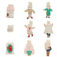 animated cartoon series - Animated cartoon series Lovely rabbit milk bag Men women enamel brooch Retro drip badges Pectoral clothing collar pin