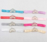 Wholesale Hair Accessories Baby Girls Infant Toddler Princess Pearl Crown Headband Hair Bow Band Photo Prop YH453