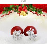 Wholesale Christmas new asymmetric fashion snow deer earrings