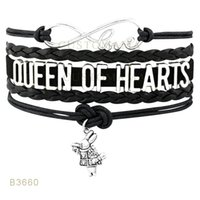 10 PCS / Lot) Infinity Love Reine des Coeurs Lapin Métal Charm Bracelets enveloppes Suede Cuir personnalisé Tous les thèmes Drop Shopping