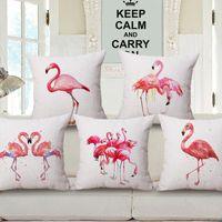 Wholesale New Flamingo Design Throw Pillowcase Cotton Linen Cushion Cover Decorative Pillow Covers Home Sofa Bed Car Office Use CM