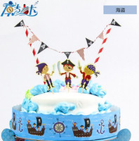 baby shower cake themes - pirate theme birthday supplies cake topper banner set baby shower cake accesspries for kids boys