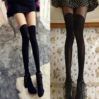 Polyester animal print tattoos for women - Sexy Women Sheer False High Stocking Fashion Over the Knee Tattoo Pantyhose Tights for Girls