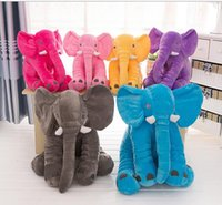 Wholesale 6 Color Elephant Pillow Baby Stuff Animal Doll Children Sleep Pillow Birthday Gift INS Lumbar Pillow Long Nose Elephant Doll Soft Plush Size