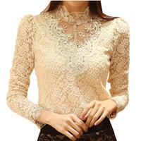 Wholesale Lace Blouse Elegant Long Sleeve Beaded Bodysuit Women Shirts Crochet Lace Tops Women Blusas Roupas Femininas blusa de renda