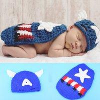 Wholesale Newborn Photography Props Costume Crochet Cartoon Beanies Cloak Set America Photography Props Newborn Photo Props BP015