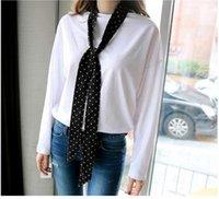 Wholesale Silk scarves female autumn joker narrow strip little long towel han edition scarf summer professional scarf adornment black tie