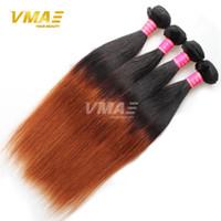 Ombre brésilien cheveux droits de cheveux de Virgin 3Pcs Lot 1B 30 cheveux de deux tons humains tissent 10-24 pouces longueur mixte ombre extensions de cheveux