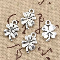 antique irish necklace - Charms lucky irish four leaf clover mm Antique charms pendant fit Vintage Tibetan Silver DIY for bracelet necklace