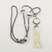 Perle collier pendentif Prix-3 strands pavés strass collier de perles naturelles avec 3mm mini perles d'hématite noir et colliers pendentif pendentif gland