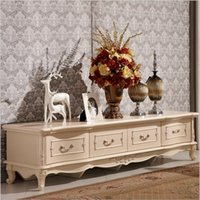 antique white tv stand - hot selling new arrival Antique High Living Room Wooden furniture white color lcd TV Stand