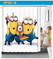 Wholesale New style D Shower Curtains Cartoon small yellow people Printing Waterproof Washable Thickened Bathroom Curtains