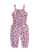 Wholesale 1 Y Girl s Printed Jumpsuit Overalls Coconut Tree Ruffles Playsuit floral rompers Baby Girls Beachwear enteritos para ninas free shpping