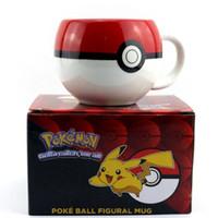 Wholesale 2016 Poke Ball Pikachu mug Handgrip Ceramic Coffee Mug tea Cup for boy girl surprise gift