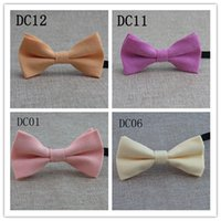Wholesale Fashion candy color dress folded Children Bow tie gentleman Ties solid color tie Children bow tie JF