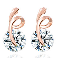Wholesale Crystals Earrings For Women Trendy Real Gold Plated Rhinestone Jewelry Hearts Arrows cut AAA CZ Stud Earring