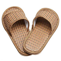 Men bamboo sandal - Durable sandals men Summer House Indoor Antiskid Slippers Bamboo Leisure Man Women