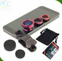 Wholesale 3 in Clip On Universal Fish Eye Lens Wide Angle Macro Lens for iphone Plus samsung S6 S7 edge note