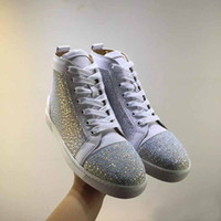Top Brand Red Sole Chaussures Sneakers Pour Femmes, Hommes Haut Haut Strass Chaussures Casual, Party Dress Walking Chaussures [Avec Box, Real Photo]
