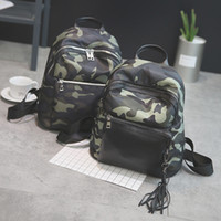 Wholesale Fashion Design Women Nylon Shoulder Bags Tassel Sport Casual Camouflage School Backpack for Teenager Girls