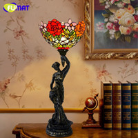 Wholesale European Style Tiffany Table Lamp Creative Art Stained Glass Tulips Roses Hot Air Balloon Bedside Lamp Home Decoration Lamp