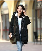 Wholesale Winter coat female Korean tide loose code in the long section of military coat thickened cotton padded jacket with feather