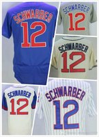 Wholesale Cheap Mens Kyle Schwarber Jersey New Chicago Baseball Jerseys Throwback Stitched Logo Blue Grey White Size S XL