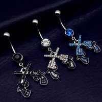bell revolver - 10pc Western Cowgirl Dual Revolver Pistol Gun Dangle Belly Button Navel Rings Body Fashion Jewelry Gauge