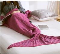 Wholesale Color Mermaid Tail Blanket Adult Little Mermaid Blanket Knit Cashmere Like TV Sofa Blanket
