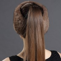 Wholesale Autumn Winter New Use Knitted Hats Winter Scarves For Women Warm Mink Fur Solid Beanies Hat Female Hat
