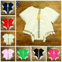 Wholesale Baby Girl Summer Tassels Rompers Infant Cotton Lace Vintage Jumpsuit Fashion Short Sleeve Kids Girls Onesies Clothing Baby Clothes F418