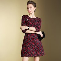 abstract clothing line - Women Clothes Autumn Temperament Round Collar Step To Cultivate One s Morality Sleeve Dress In Abstract Print Dress