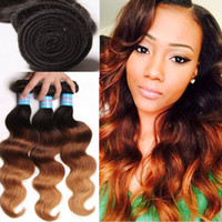 Wholesale Ombre Human Hair Weaves Extension Brazilian Straight Body Wave Virgin Hair Weave Bundles Three Tone Grade A Ombre Remy Human Hair Weft