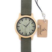 al por mayor reloj para hombre verde del ejército-1 Reloj de madera de madera del Mens de los hombres Reloj de madera del vintage de la mujer con la gota de la gota de la lona del verde del ejército Shiping