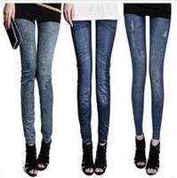 Wholesale 30pc Women Pants Sexy Leggings Free Style Women s Printed Leggings Jeans Cheap Ripped Denim Spandex Graffiti Fitness Legging TR08