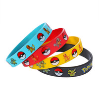Wholesale 500Pcs pikachu Charmander Squirtle Silicone Wristband Bracelet Poke Go Fashion women men unisex bracelets bangles