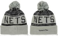 basketball protection net - Brooklyn beanies Hot Sale Cotton Knit Basketball Team net Pom Pom Beanies Hat Striped Cuff Winter Hats For Men football Skullies Mix Order