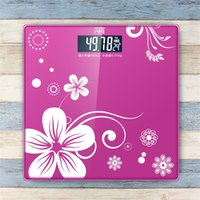 Wholesale Flower Style Precision Digital Toughened Glass Bathroom Scales Electronic Body Weighing Scale Weight Balance Balanca De Banheiro