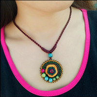 Wholesale National wind handmade jewelry knot plum knot necklace agate chalcedony ceramic clavicle yellow flowers short paragraph