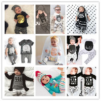 Wholesale 2017 new cartoon moster infant clothes sets baby boys girls letter cotton clothing suit kids boys t shirts long sleeve and pants
