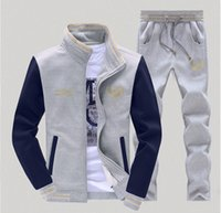 Wholesale New spring men s fleece male thin sport suit male coat pure color stitching in the spring and autumn baseball uniform male