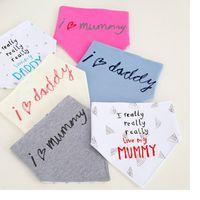 Wholesale New I Love Mom Dad Baby Bibs Pure Cotton Double Layer Waterproof Triangle Saliva Towel Newborn Print Burp Cloths WA1788